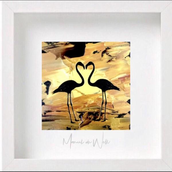 Flamingo Herz gold