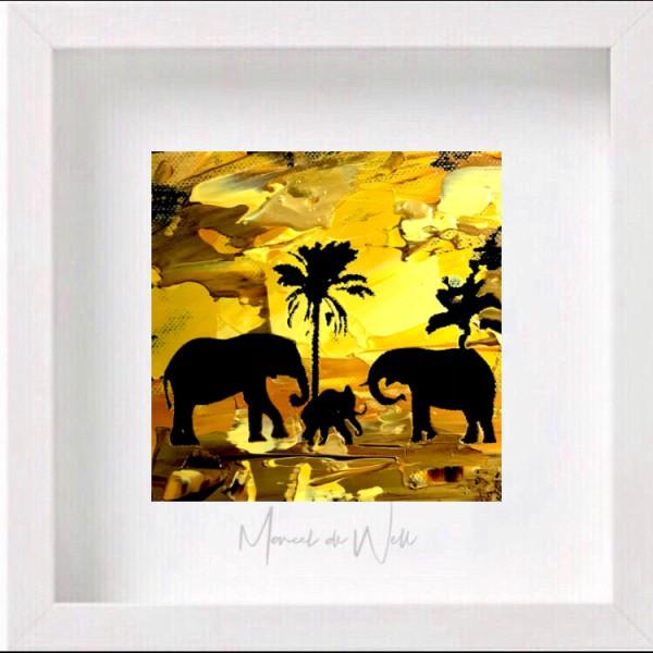Elefanten unter Palmen
