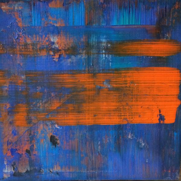 Abstrakt Blau Orange 50 x 50cm